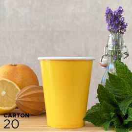 20 Gobelets 25cl jaunes 100% bio et compostables