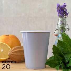 20 Gobelets 25cl gris 100% bio et compostables