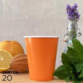 20 Gobelets 25cl orange 100% bio et compostables