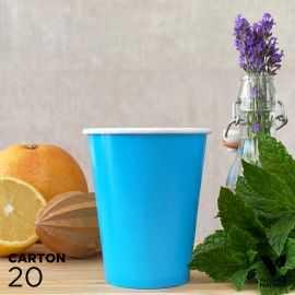 20 Gobelets 25cl turquoise 100% bio et compostables