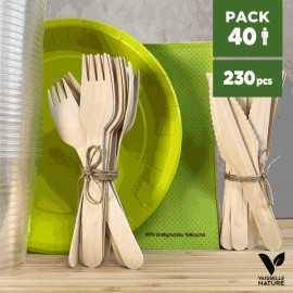 Pack vert 40 personnes 100% Biodégradable