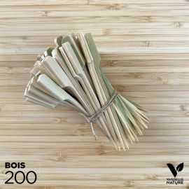 200 Pics plats 9,5 cm bambou naturel verrines apéritives