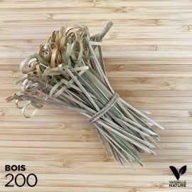 200 Pics boucle 12 cm bambou naturel 12cm verrines apéritives