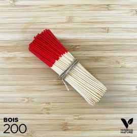 200 Pics 9 cm bambou naturel et rouge verrines apéritives