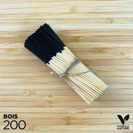 200 Pics 9 cm bambou naturel et noir verrines apéritives