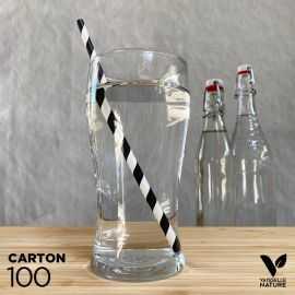100 Pailles carton 20cm noir et blanc torsadé