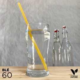 60 Pailles Blé 25cm Biodégradables - Compostables