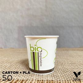 50 Gobelets Carton/ PLA 10cl biodégradable - compostable