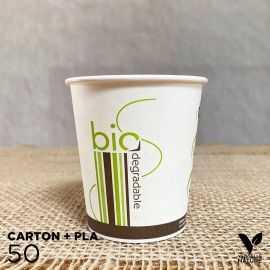 50 Gobelets Carton/ PLA 18cl biodégradable - compostable