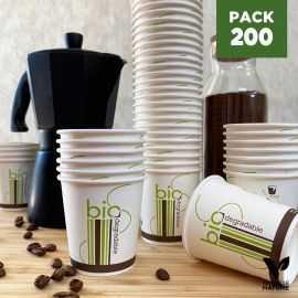 Pack 200 Gobelets 10cl Carton/PLA Biodégradables - compostables