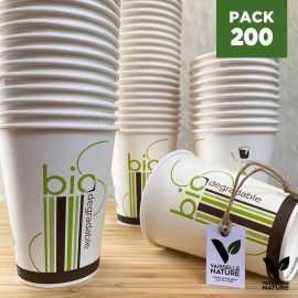 Pack 200 Gobelets 24cl Carton/PLA Biodégradables - compostables