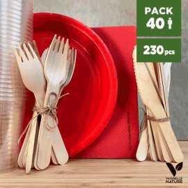 Pack Rouge 40 personnes 100% Biodégradable