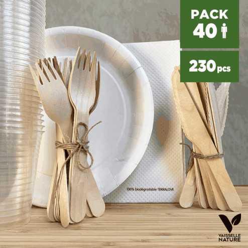 Pack Blanc 40 personnes 100% Biodégradable