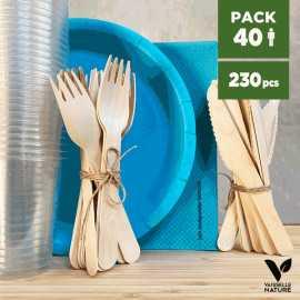 Pack Bleu 40 personnes 100% Biodégradable