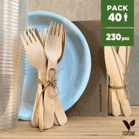 Pack Grège 40 personnes 100% biodégradable