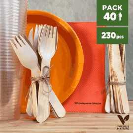 Pack Orange 40 personnes 100% biodégradable