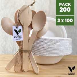Pack 100 Bols fibres 40cl + 100 grandes cuillères bois Biodégradables - compostables