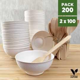 Pack 100 verrines mini-bol + 100 petites cuillères bois