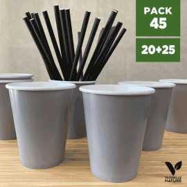 Pack 20 gobelets gris + 25 Pailles papier noires 20cm