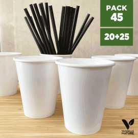 Pack 20 gobelets blancs + 25 Pailles papier noires 20cm