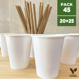 Pack 20 gobelets blancs + 25 pailles kraft 20cm