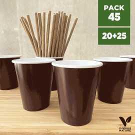 Pack 20 gobelets chocolat + 25 pailles kraft 20cm