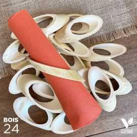 24 Ronds de serviettes en bambou naturel 12 cm