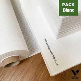 Pack table blanche Nature Nappe 25m + 40 Serviettes + 20 Mini-serviettes