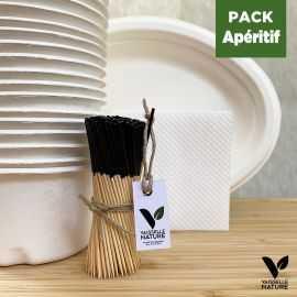 Pack Set apéritif - 200 Pics - 50 Plateaux - 50 Coupelles - 40 Mini-Serviettes