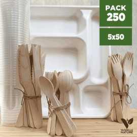 Pack Set 50 plateaux repas - 50 sets couverts bois - 50 gobelets