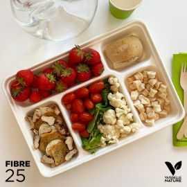 25 Plateaux repas 5 cases. Biodégradables - compostables