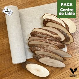 Pack 1 chemin de table lin + 12 Mini-rondins bois 18cm