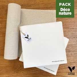 Pack 1 chemin de table lin + 40 serviettes blanches Terralove
