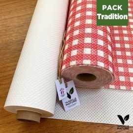 Pack 1 chemin de table Vichy + 1 Nappe blanche Biodégradable - Compostable