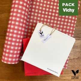 Pack 1 chemin de table Vichy + 80 Serviettes blanches et rouges Biodégradables - Compostables
