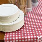 Pack 1 chemin de table Vichy + 50 Coupelles hautes 32cl Biodégradables - Compostables