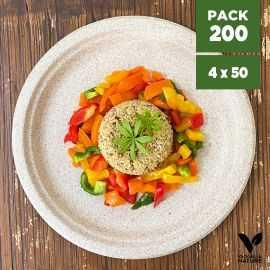 Pack 200 Assiettes pulpe de blé biodégradables 26 cm