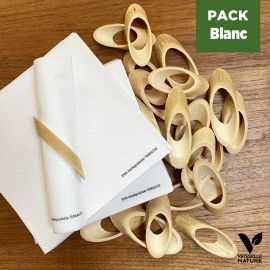 Pack 24 ronds de serviettes + 40 Serviettes blanches Biodégradables - Compostables