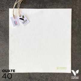 40 Serviettes en tissu-ouate blanches Biodégradables et compostables 40cm x 40cm