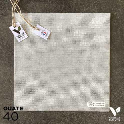 40 Serviettes en tissu-ouate grises Biodégradables et compostables 40cm x 40cm