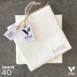 40 Mini-serviettes en tissu-ouate blanches Biodégradables et compostables 20cm x 20cm