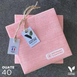 40 Mini-serviettes en tissu-ouate rouges Biodégradables et compostables 20cm x 20cm