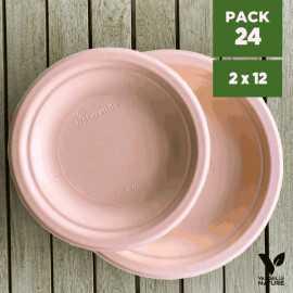 Pack 24 assiettes fibres Bio orange pastel 18/23 cm