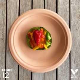 12 Assiettes 100 % fibres Bio orange pastel 23 cm