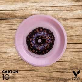 10 Assiettes rose carton 100% biodégradables 18 cm