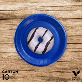 10 Assiettes bleues carton 100% biodégradables 18 cm