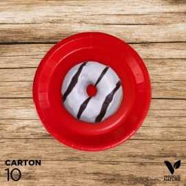 10 Assiettes rouges carton 100% biodégradables 18 cm