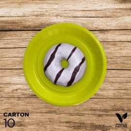 10 Assiettes vert anis carton 100% biodégradables 18 cm