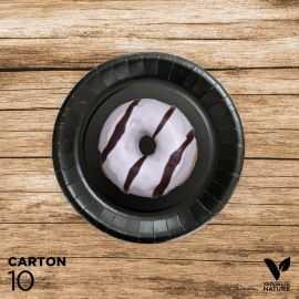 10 Assiettes noires carton 100% biodégradables 18 cm