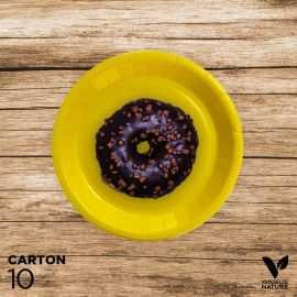10 Assiettes jaunes carton 100% biodégradables 18 cm